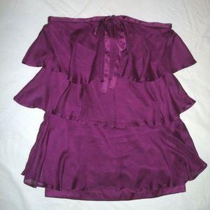 BEBE Purple Silk Tiered Ruffled Mini Dress M